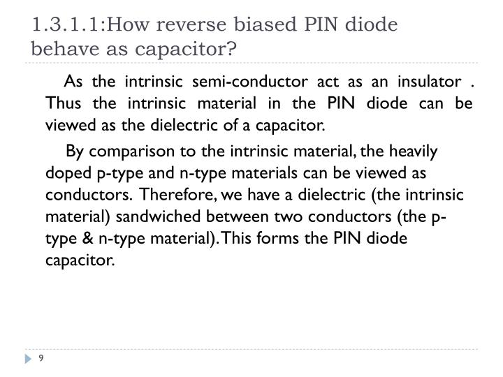 1.3.1.1:How reverse biased PIN diode behave as capacitor?