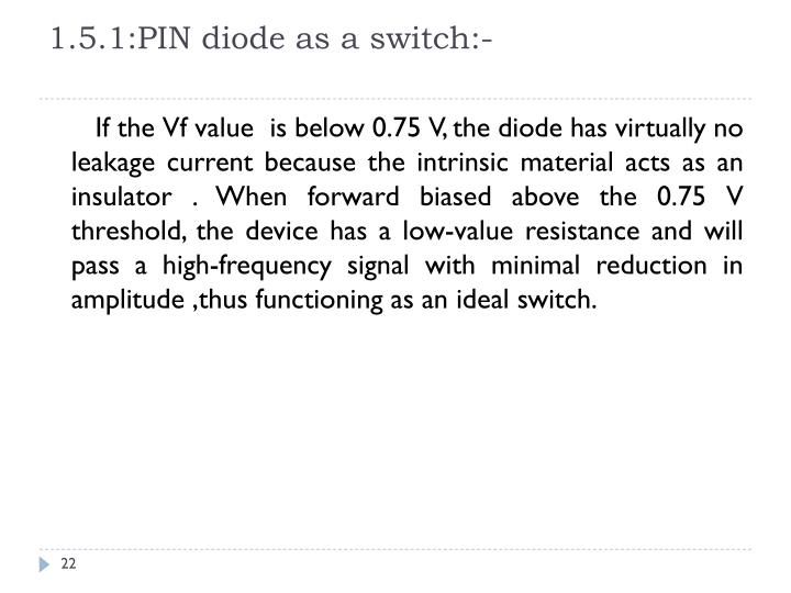 1.5.1:PIN diode as a switch:-