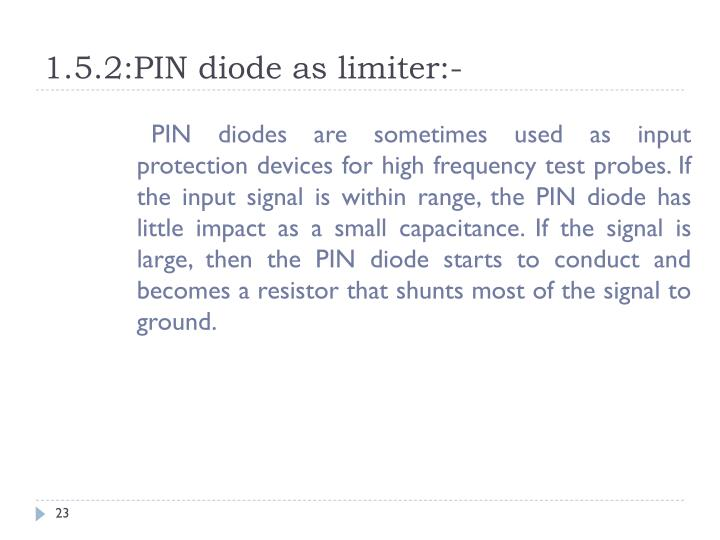 1.5.2:PIN diode as limiter:-
