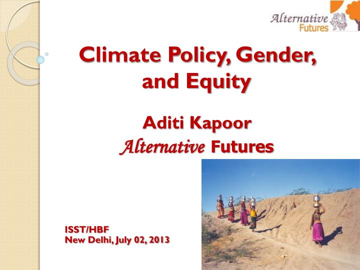 Climate Policy, Gender, and Equity