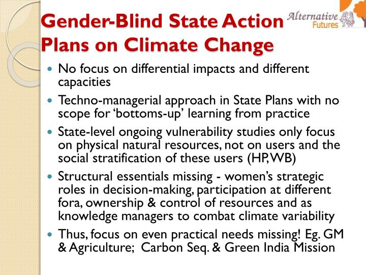 Gender-Blind State Action Plans on Climate Change