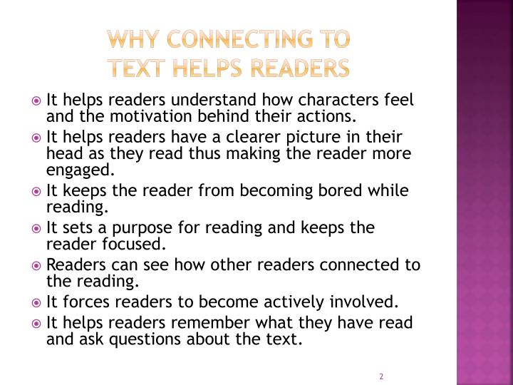Why connecting to text helps readers