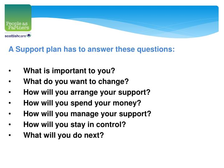 A Support plan has to answer these questions: