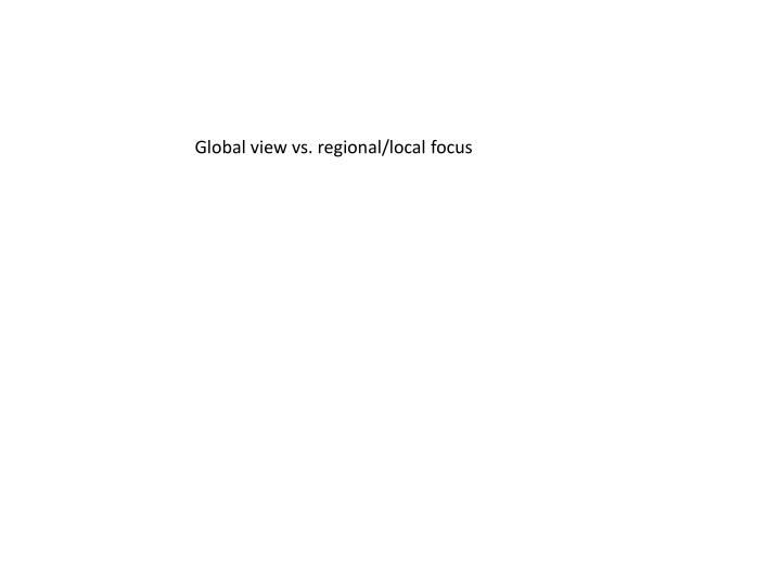 Global view vs. regional/local focus