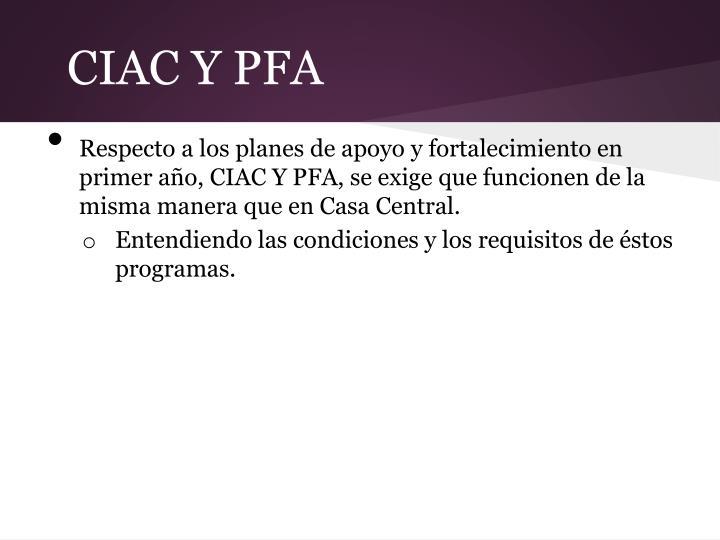CIAC Y PFA