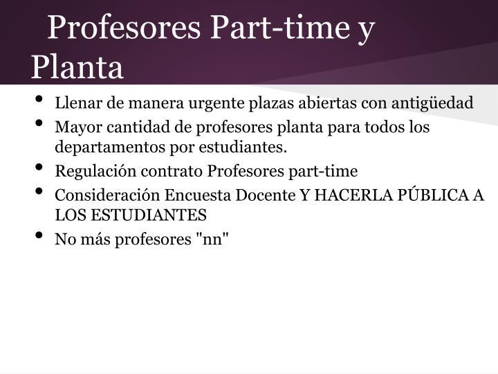 Profesores Part-time y Planta