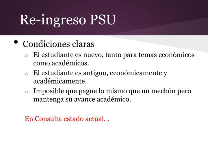 Re-ingreso PSU
