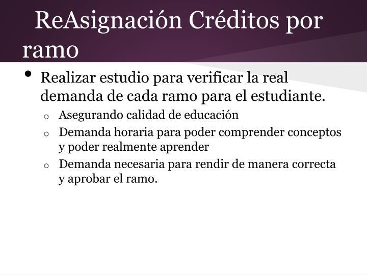 ReAsignación Créditos por ramo