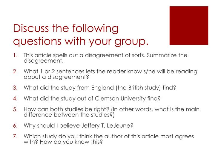 Discuss the following questions with your group