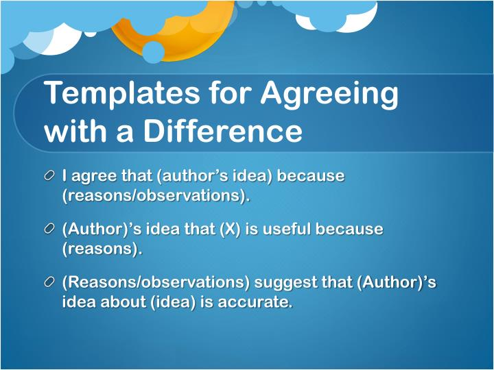 Templates for Agreeing with a Difference