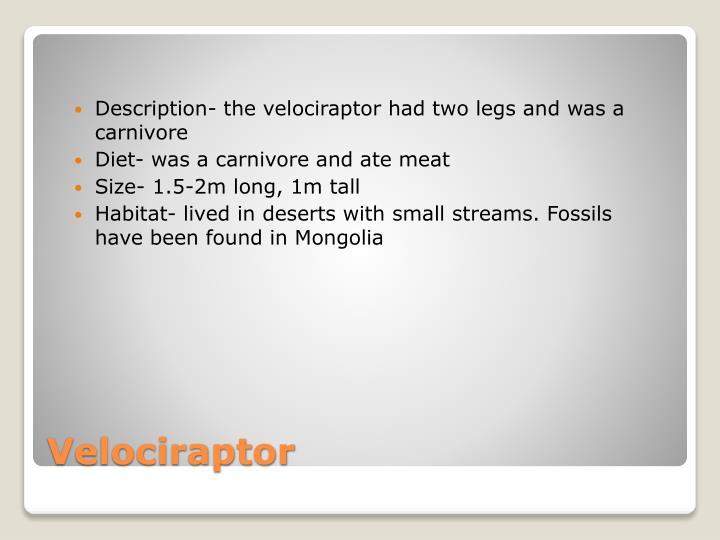 Description- the velociraptor had two legs and was a carnivore