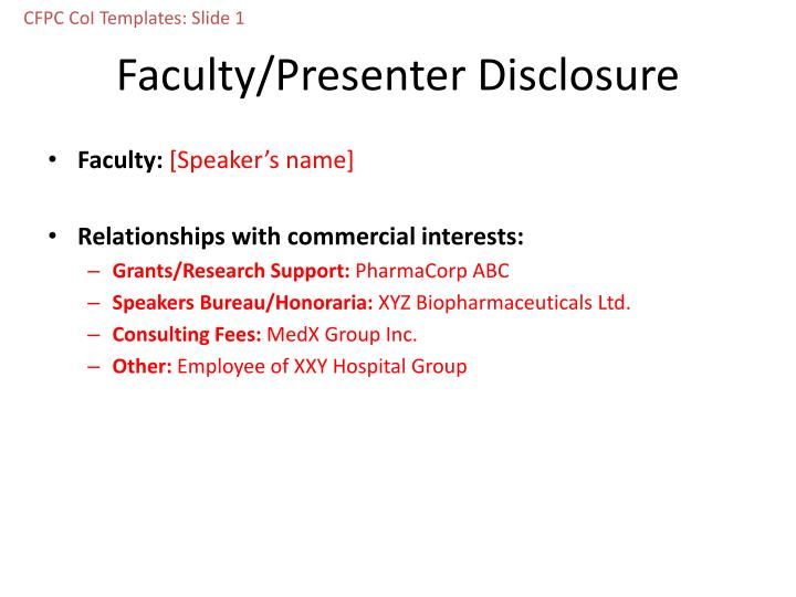 Faculty presenter disclosure