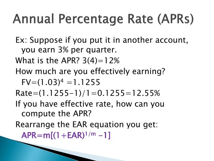 Annual Percentage Rate (APRs)