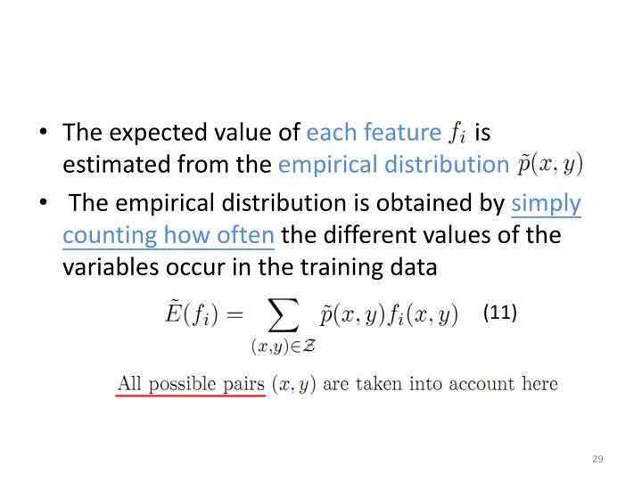 The expected value of