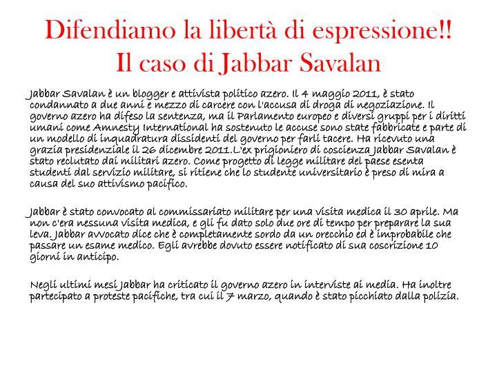 Difendiamo la libertà di espressione!!