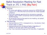 ballot resolution meeting for fast track or jtc 1 pas big pain