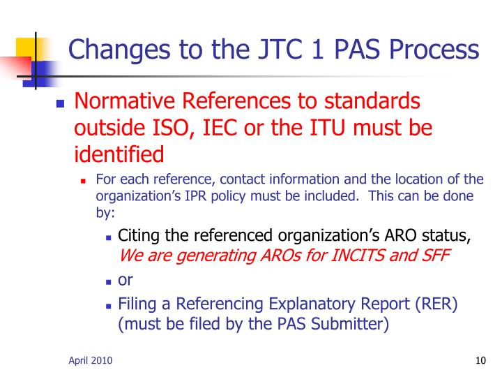 Changes to the JTC 1 PAS Process