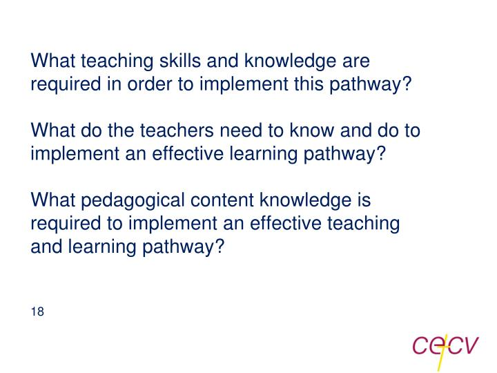 What teaching skills and knowledge are required in order to implement this pathway?