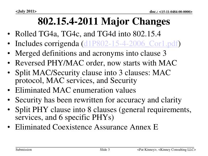 802.15.4-2011 Major Changes