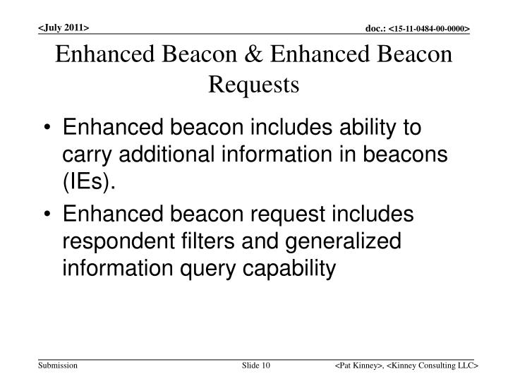 Enhanced Beacon & Enhanced Beacon Requests