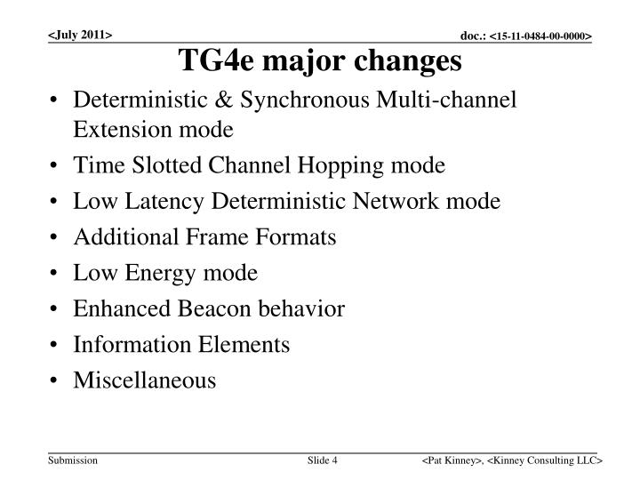 TG4e major changes