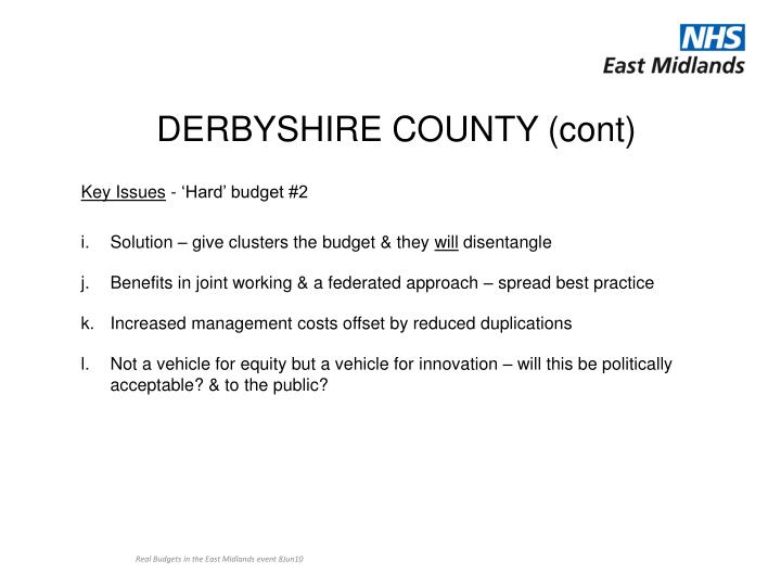 DERBYSHIRE COUNTY (cont)