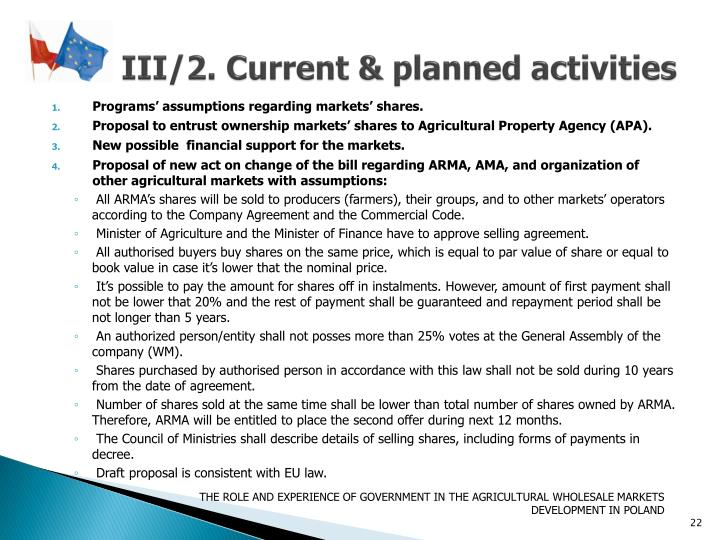 III/2. Current & planned activities