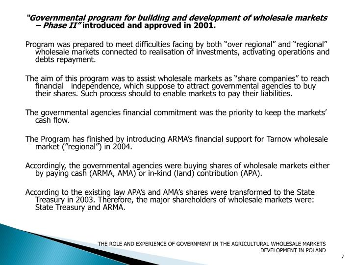 """Governmental program for building and development of wholesale markets – Phase II"""