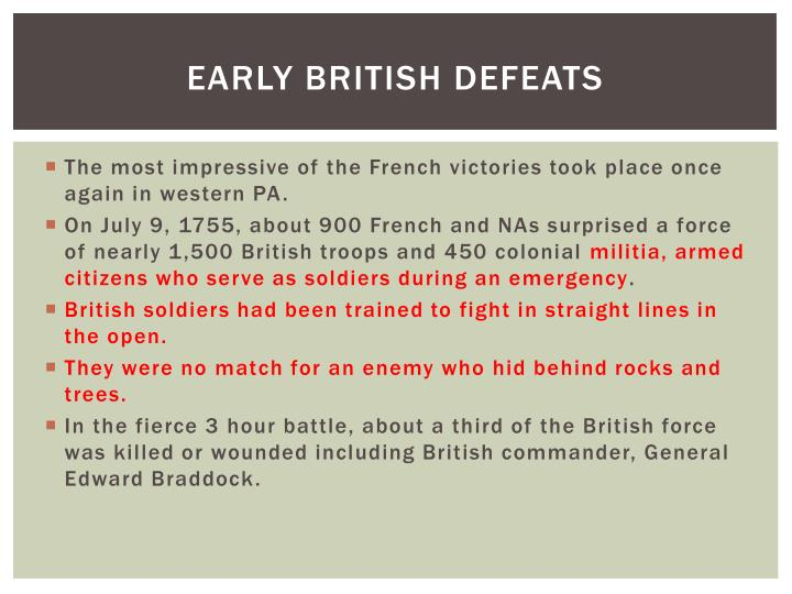 Early British Defeats