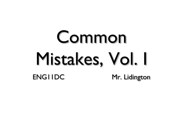 common mistakes vol i
