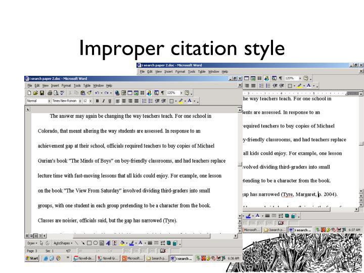 Improper citation style