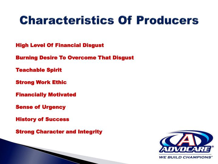 Characteristics Of Producers