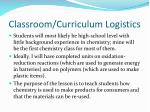 classroom curriculum logistics