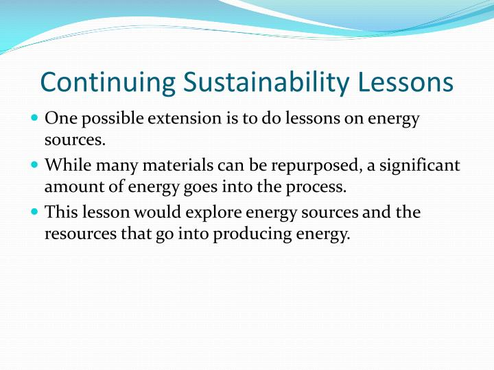 Continuing Sustainability Lessons