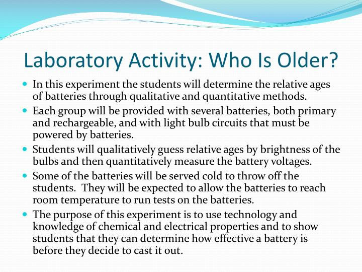 Laboratory Activity: Who Is Older?