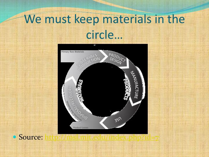 We must keep materials in the circle…