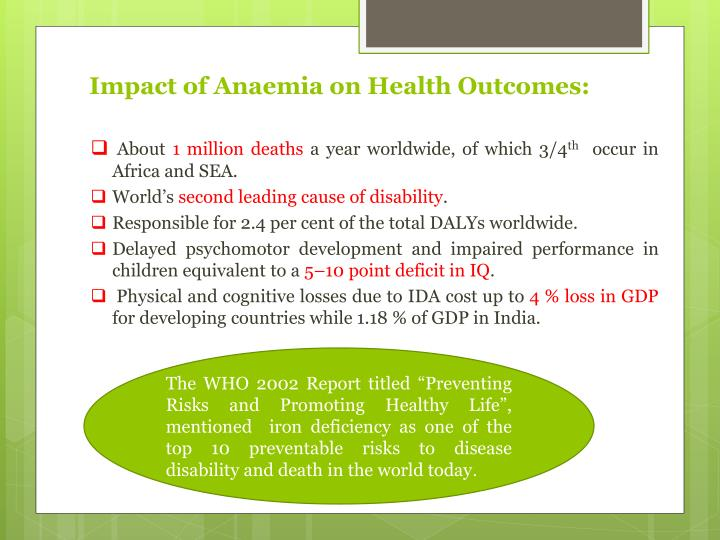 Impact of Anaemia on Health Outcomes: