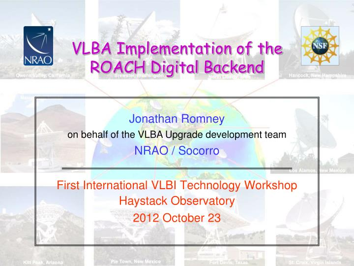 Vlba implementation of the roach digital backend