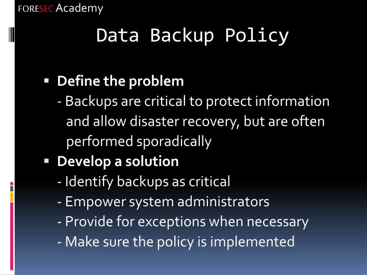 Data Backup Policy