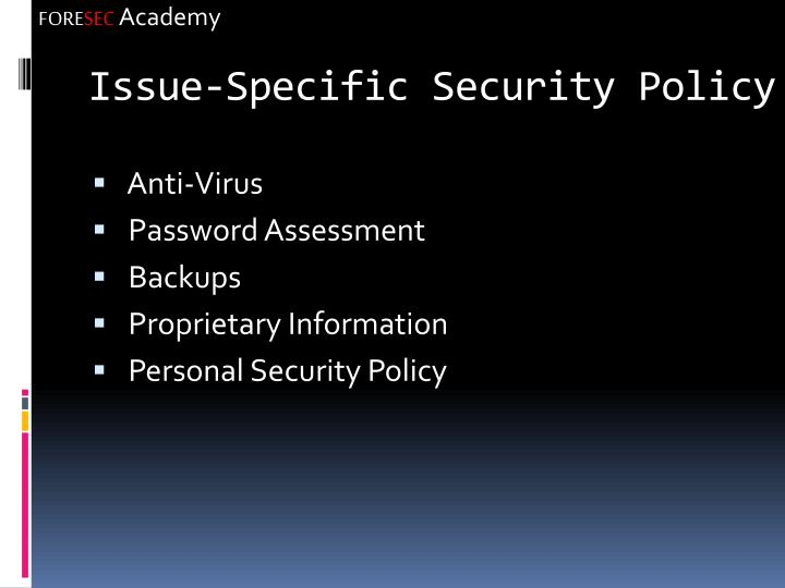 Issue-Specific Security Policy