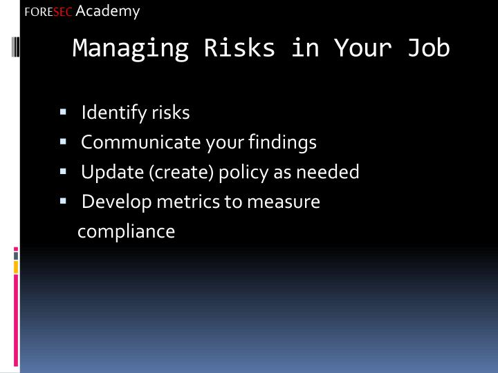 Managing Risks in Your Job