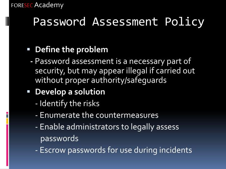 Password Assessment Policy