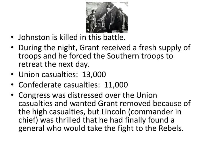 Johnston is killed in this battle.