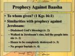 prophecy against baasha