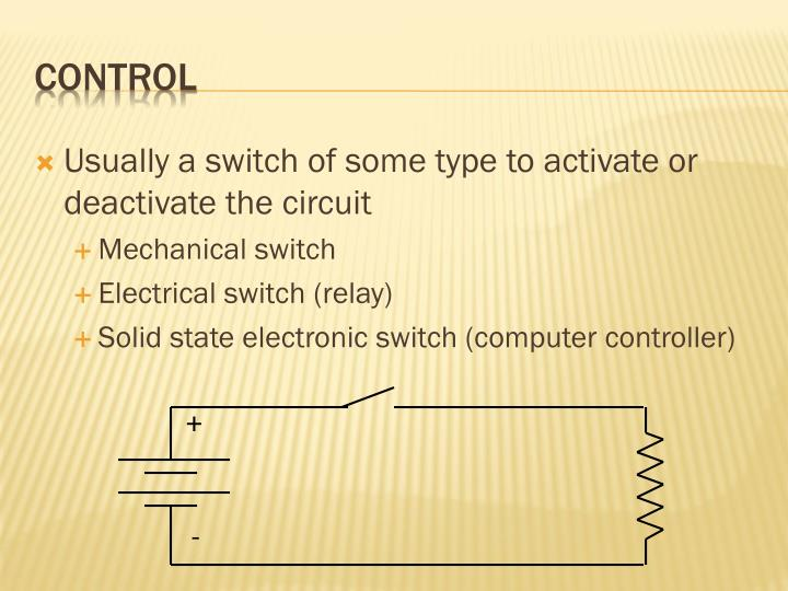 Usually a switch of some type to activate or deactivate the circuit