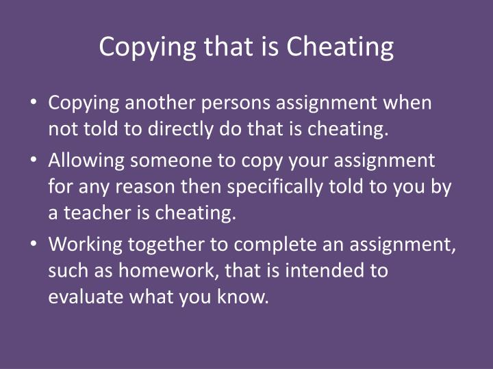 Copying that is Cheating