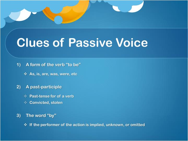 Clues of Passive Voice