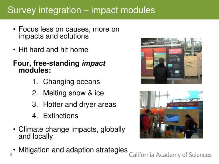 Survey integration – impact modules