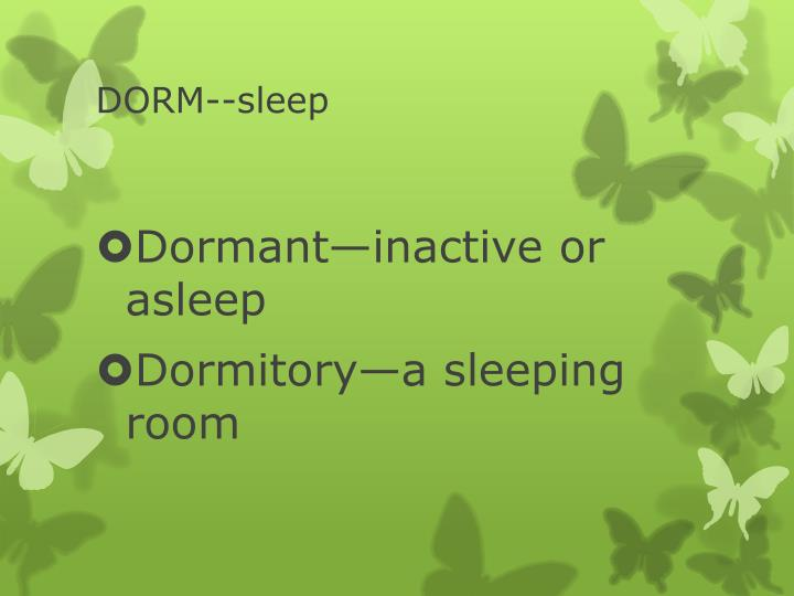 DORM--sleep