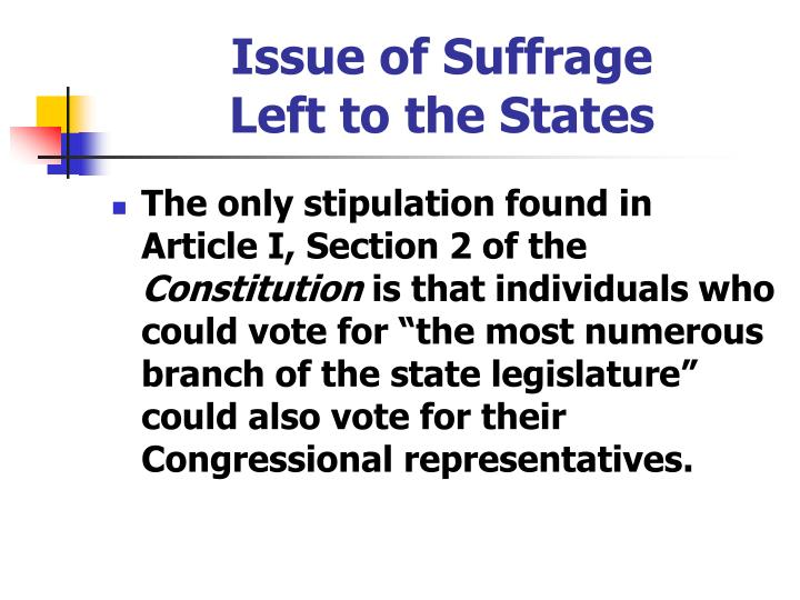 Issue of Suffrage